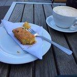 lemon polenta cake and cappuccino