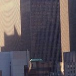 "Taken from our room on 23rd floor. ""The caped crusader is watching over us!"""