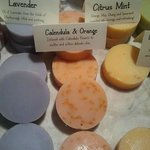 the wide variety of lovely home made soaps: strongly recommended
