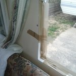 another view of the parcel tape on the lounge window