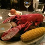 Steamed lobster with clams and oysters.