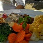 deer meat and vegetables