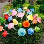 Glass Mushrooms in the Garden & Shops
