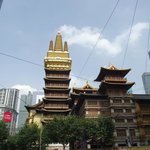 Jingan Temple at the end of the street...