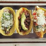 Carne Asada, Beef Brisket Birria and Fish Tacos