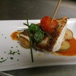 grilled cod fillet with rosemary potatoes.