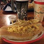 Mac & Cheese Hot Dog With Fries:)