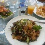 Warm chicken salad, lunch special schnitzel and entree prawns