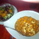 Sweet potato coconut curry and orange-almond salad