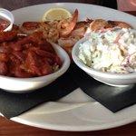Grilled shrimp, red beans & rice, coleslaw