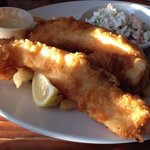 3 giant pieces of fish, French fries, coleslaw