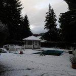 A pesar de la nieve, la zona de la pileta y sus alrededores se ven bien cuidados!