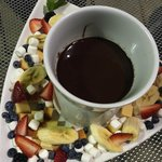 marshmallow, fruit chocolate fondue