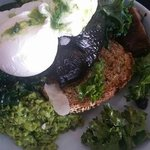 smashed peas with poached eggs & marinated mushrooms
