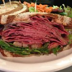 NY Pastrami piled high with sauerkraut and thousand island dressing!