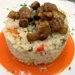 Laborari arroza foie kubotxoaz  Riz paysan au foie coupé en dés