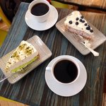 Pistachio and blueberry cheesecakes