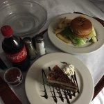 Angus Burger and Tiramisu dessert
