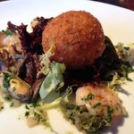 cod fish cake with mussels and prawns
