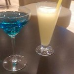 Cocktails - the blue one is the hotel specialty - lovely!