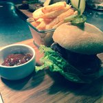 Home made burger and hand cut chips!