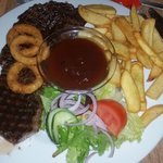 Huuuuuge Steak +Chips +BBQ Sauce Fantastic every time