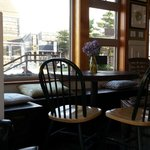 Cozy cafe seating - sun pouring in.