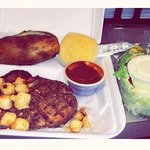 filet with scallop topping, baked potato, A1, roll, & salad