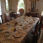 Beautiful breakfast table in the dining room