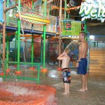 Large play area in Coco Key with a large bucket of water that spills out!