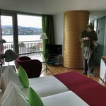 Our room, with balcony and Lake Zurich view