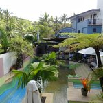 Secluded pool area and guest breakfast dining area