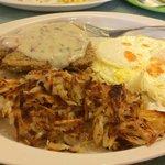 Chicken fried steak, eggs, hash brown
