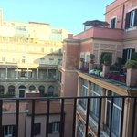 View from the balconies over the central courtyard and shared outdoor area on our floor