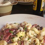 Tortellini with mushroom and bacon sauce & Penne with Cheese Sauce