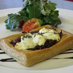 Buffeljags Goats cheese & red onion tart, handmade puff pastry