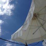 Broken sun umbrellas...