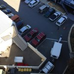 looking down on the carpark from 8th floor