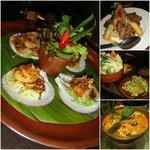 Scallops+spicy lime vinaigrette; rack of lamb+papaya salad; green tamarind relish; duck red curr