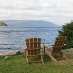 Lots of shoreline chairs to enjoy the view