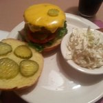 Classic cheeseburger and slaw