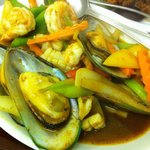 Seafood stir-fried with Thai style chilli oil