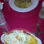 The Chicken Marsala and the Lasagna are pictured.