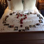 The proposal and hotel bed....