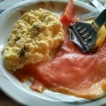 Eggs with smoked salmon breakfast