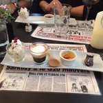 Almond ice cream wow, coffee excelent, creme brule the best