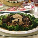 The braised sea cucumber with mushrooms, abalone slices and brocolli is perfect!