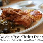 """Southern Fried Chicken with Greens & Macaroni and Cheese"""
