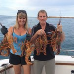 Tracy and Brian with fresh crayfish.