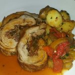 Stuffed veal breast, duck fat potatoes, peperonata, veal jus